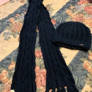 Hollister navy Knit Cap and Scarf